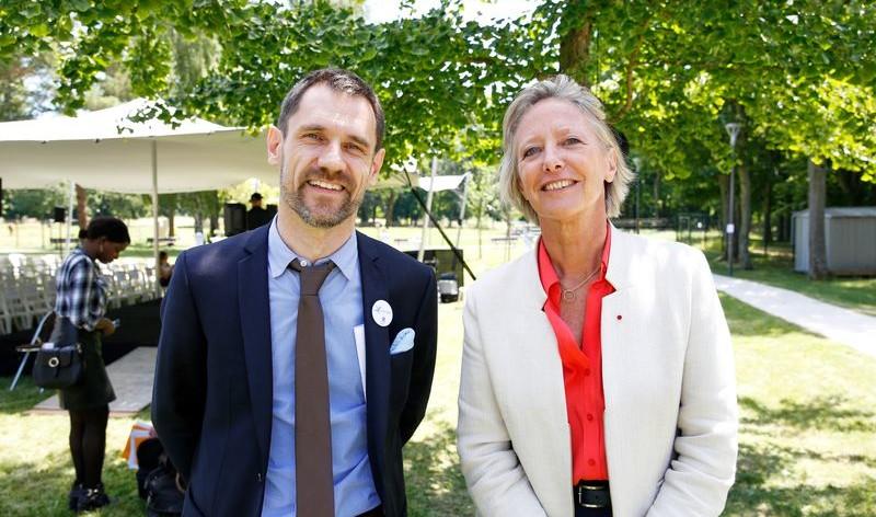 Sophie Cluzel, secrétaire d'État auprès du Premier ministre chargée des personnes handicapées et Christophe Douesneau, directeur général de Vivre et devenir
